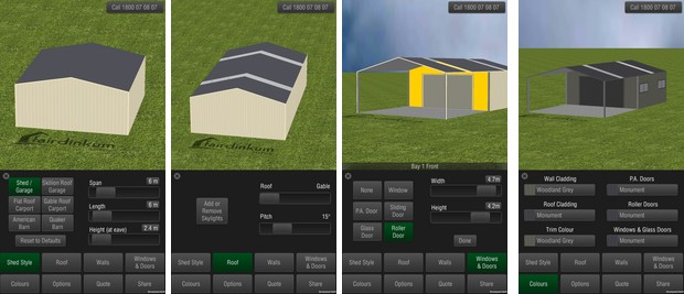 Shed Designer app screenshots